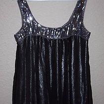 B2 Bebe Ladies Small Sequin Black Silver Shimmer Flowy Tank Top S Bebe Euc Photo