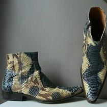 B2 Brown & Blue Genuine Reptile Snakeskin Ankle Boots Excellent Condition Photo