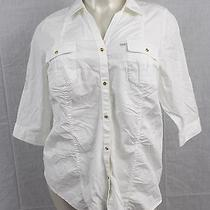 B2 Lane Bryant Blouse Button Down White Shirt 22 / 24 Top With Gold Tone Buttons Photo