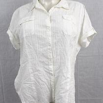 B2 Lane Bryant Lovely Button Down White Blouse Size 26 100% Cotton Shirt Photo