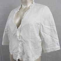 B2- Lane Bryant Size- 24 White Blouse Jacket Blazer With 3-Hook Closure  Nwt's Photo