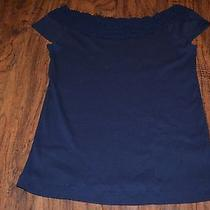 B2- Lauren Ralph Lauren Navy Blue Cap Sleeve Top Size M Photo
