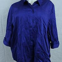 B2 Maggie B Catherines 4 Lane Bryant Button Down Blouse Blue 4x 30 / 32 W Shirt Photo