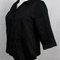 B2 Nwt's Lane Bryant Black Button Down Blouse 3/4 Sleeve Top Size 26 Shirt Photo