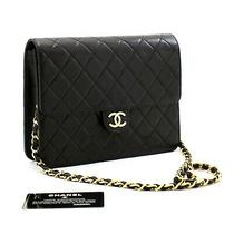 B27 Chanel Authentic Small Chain Shoulder Bag Clutch Black Quilted Flap Lambskin Photo