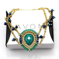 B346 Avon Goldtone With Green Rhinestone Bracelet Brand New in Original Box  Photo
