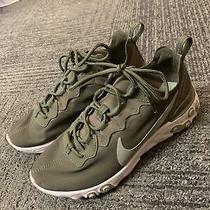 B826 Nike React Element 55 Running Shoe Mica Green/light Sliver Us 7.5 Photo