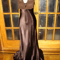 Ba894 Made in Usa Betsy & Adam New Brown Satin Party Dress Size 12 8 Photo