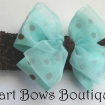 Baby Aqua & Brown Polka Dot Bow on Crochet Headband Photo