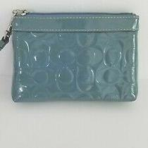 Baby Blue Patent Leather Coach Signature C Print Wristlet  Photo