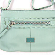 Baby Blue Pebbled Leather Fossil Dawson Crossbody Shoulder Bag Handbag Photo