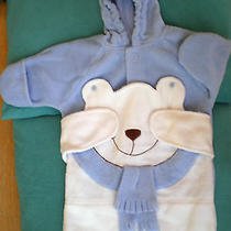 Baby Boy 0-6 Months Blue Snowsuit Fleece W/slit for Seat Belt Hooded Avon Bear Photo