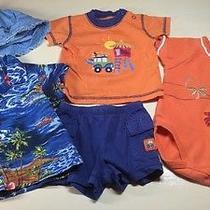 Baby Boy 3-6 Month Baby Gap Carters Shirt Shorts Hat 5pc Beach/surfer Orange Photo
