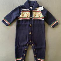 Baby Boy 3-6 Month Baby Gap Navy Reindeer Fair Isle Holiday Knit Romper Photo