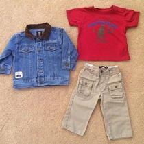 Baby Boy Timberland Outfit Jean Denim Jacket T-Shirt Pants 3pc Set 12 Month 12m Photo
