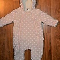 Baby Gap 0-6 Months Infant Baby Pink White Dot Hoodie Footed Thick One Piece Photo