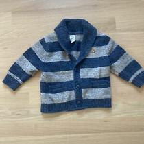 Baby Gap 12 18 M Boy Sweater Shawl Collar Knit Blue Gray Striped Cardigan Photo