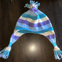 Baby Gap 12-18 Months Fleece Striped Hat With Ear Flap Blue Lavender White 18 M Photo