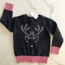 Baby Gap 18-24 Months Girl Grey Pink Sweater Silver Reindeer Nwt Photo