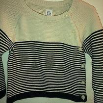 Baby Gap 18-24 Months Girl Stripe Sweater Blue and Cream Photo