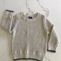 Baby Gap 18-24 Months Oatmeal Waffle Sweater With Grey Trim Nwt Photo