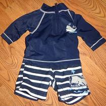 Baby Gap 2 Pc Set Swimsuit Rash Guard & Shorts 0/3m Whales Boys Swimwear Trunks Photo