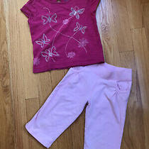 Baby Gap 3t Girls Pink Butterfly Embroidered T-Shirt & Capris Photo