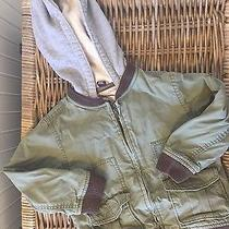 Baby Gap 5t Military Green Jacket Coat With Gray Hoodie Photo