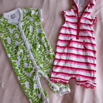 Baby Gap 6-12 Month Girls Terry Cloth Summer Romper Lot 2 Pieces Stripes Floral  Photo