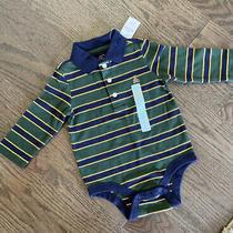 Baby Gap 6-12 Months Boys Green/blue Striped Teddy Bear Bodysuit Long Sleeve Nwt Photo
