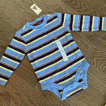 Baby Gap 6-12 Months Boys Multicolor Striped Teddy Bear Bodysuit Long Sleeve Nwt Photo