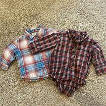 Baby Gap and Old Navy Boys 3-6 Month Long Sleeve Plaid Shirt Lot of 2 Photo