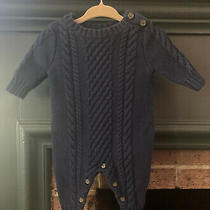 Baby Gap Baby Boys Sweater Romper Navy Size 0-3 Month Photo
