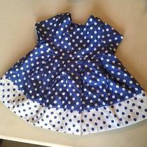 Baby Gap Baby Girl Blue White Polka Dot Dress Size 3-6 Months Cotton/polyester Photo
