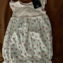 Baby Gap Baby Girl Size 3-6 Months Pink & White Striped Floral Romper Nwt Photo