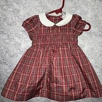 Baby Gap Baby Girls Burgundy Plaid Tafetta Smocked Dress Size 3-6m  Photo