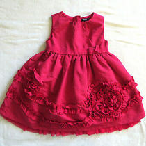 Baby Gap Baby Girls Fancy Red Christmas Dress Ruffles & Roses 18 - 24 Mo Photo