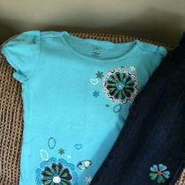 Baby Gap Batik 2t Embroidered Jeans Tshirt Top Aqua Cute Photo
