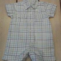 Baby Gap Blue Green Plaid Shorts Romper One Piece Outfit Baby Boy 3-6 Months  Photo