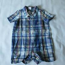 Baby Gap Blue Plaid 100% Cotton Snap One Piece - Infants Size 3-6 Months - New Photo