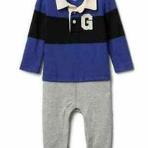 Baby Gap Blue Rugby Logo Double-Layer Shirt Romper 0-3 Months 40 Nwt Photo