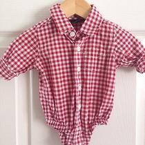 Baby Gap Boy Button Down Top Body Suit. 0-3 Months Red Checked - Like New Photo