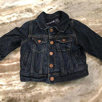 Baby Gap Boy Girl  Denim Jean Jacket Dark Wash Snap Button Lined Size 6-12 Month Photo