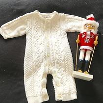 Baby Gap Boy/ Girl Unisex Ivory Cream Cable Knit Sweater One Piece Lined 3-6  Photo
