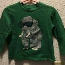 Baby Gap Boy's  Long Sleeve Knit Shirt Green W Elephant 100% Cotton Size 12-18 M Photo