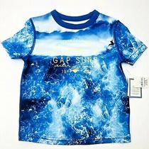 Baby Gap Boys 12-18 Month Ss Rash Guard Swim Bathing Suit Top Shirt Blue Surfer Photo