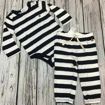 Baby Gap Boys 18-24 Months Navy Blue & White Striped Shirt & Pant Outfit. Nwt Photo