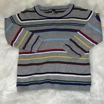 Baby Gap Boys 3t Gray Colorful Striped Thin Cotton Sweater Euc Photo
