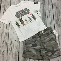Baby Gap Boys 4 / 4t Star Wars Shirt & Gray Camouflage Shorts Outfit. Nwt Photo