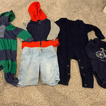 Baby Gap Boys 6-12 Month 5 Item Lot 2 One-Piece Outfits Hoodie Shorts & Top Photo